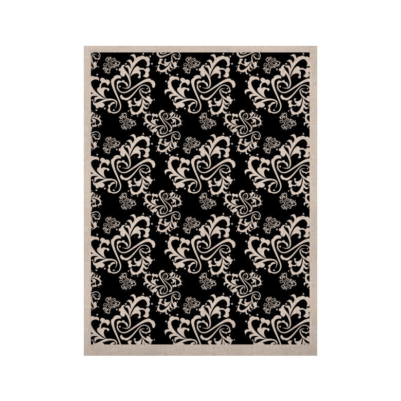"Mydeas ""Sweetheart Damask Black & White"" Pattern KESS Naturals Canvas (Frame not Included) - KESS InHouse  - 1"
