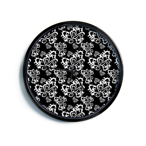 "Mydeas ""Sweetheart Damask Black & White"" Pattern Modern Wall Clock"