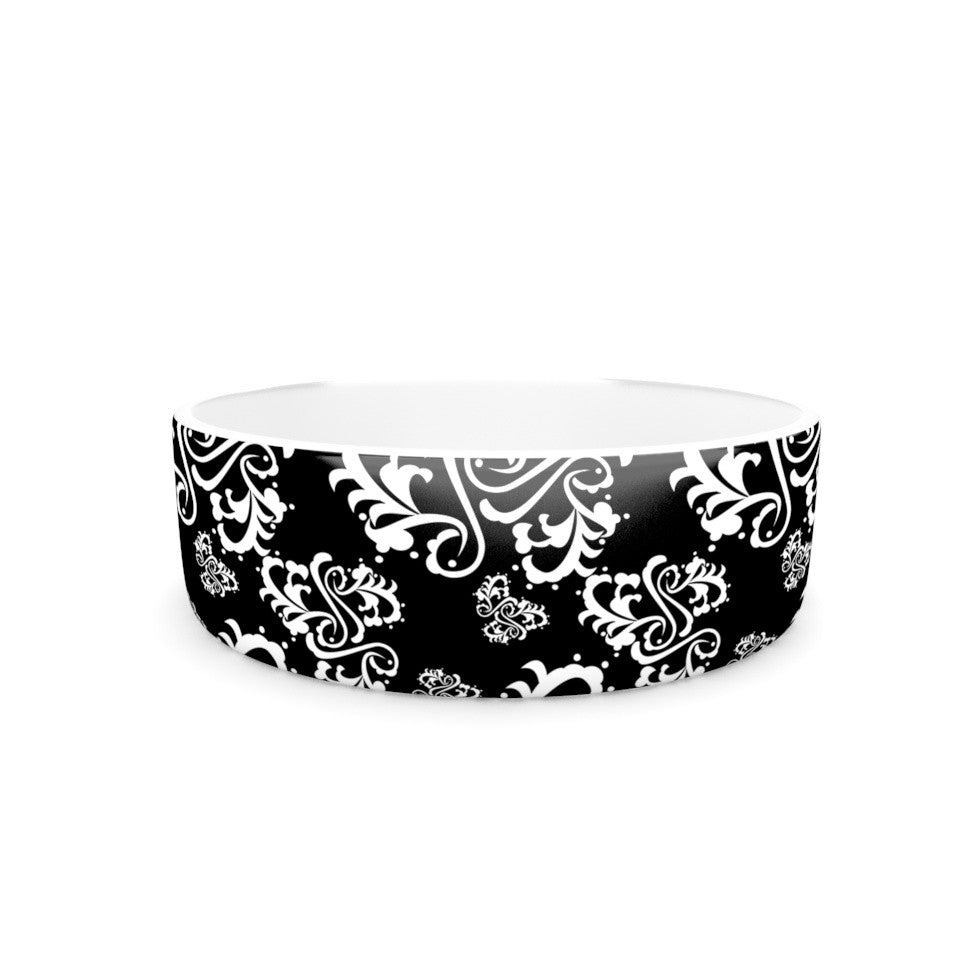 "Mydeas ""Sweetheart Damask Black & White"" Pattern Pet Bowl - KESS InHouse"