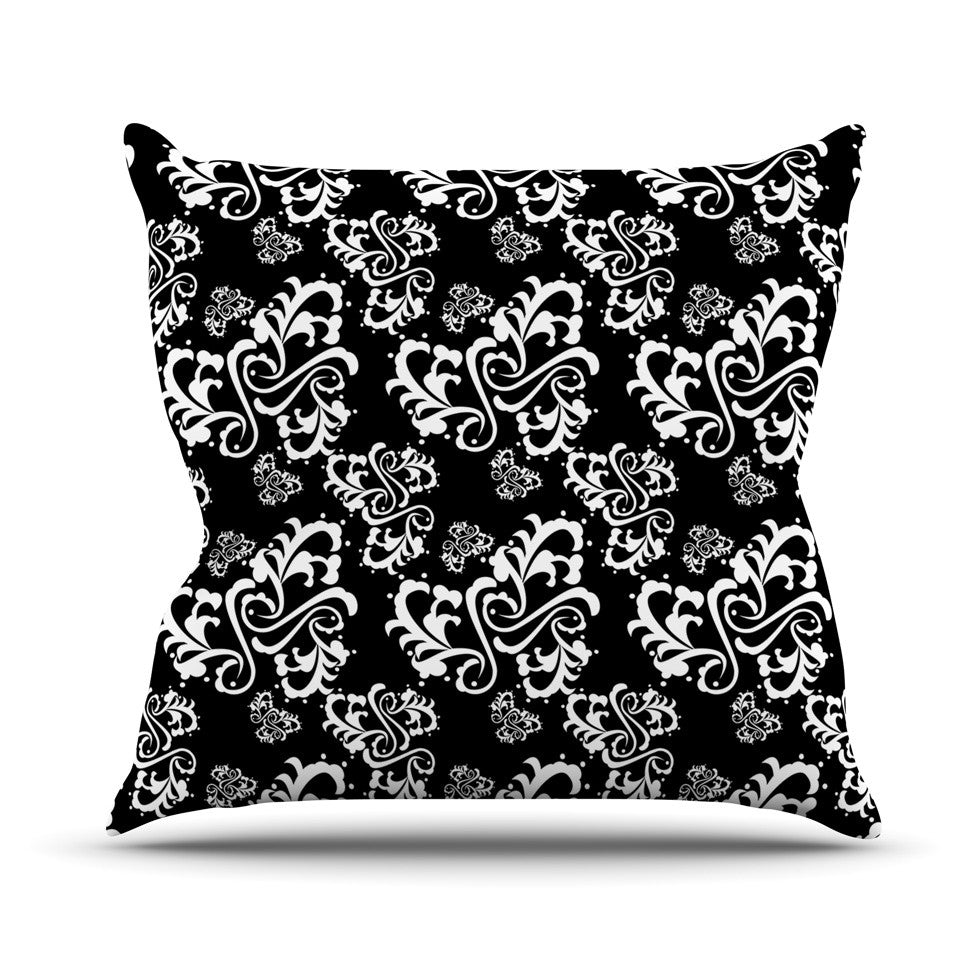 "Mydeas ""Sweetheart Damask Black & White"" Pattern Throw Pillow - KESS InHouse  - 1"