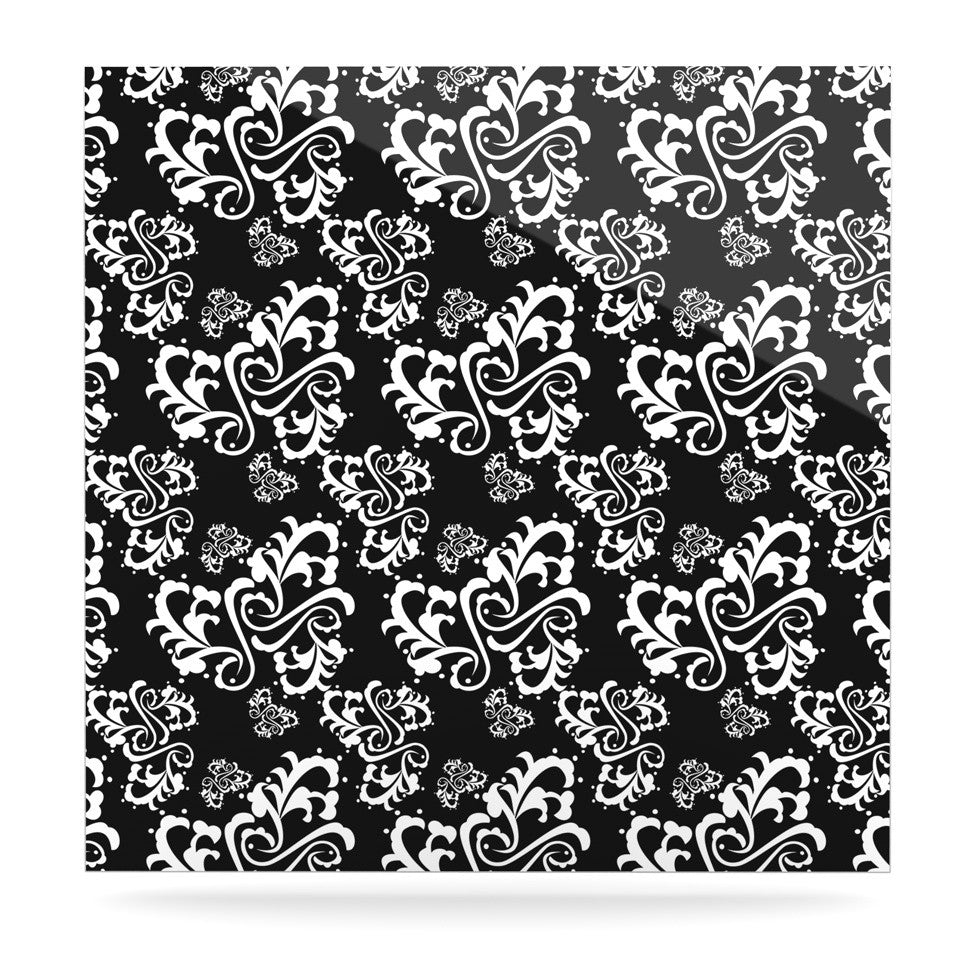 "Mydeas ""Sweetheart Damask Black & White"" Pattern Luxe Square Panel - KESS InHouse  - 1"