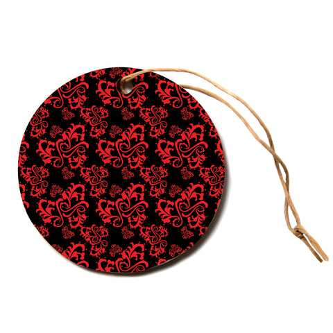 "Mydeas ""Sweetheart Damask Black and Red"" Pattern Black Red Circle Holiday Ornament"