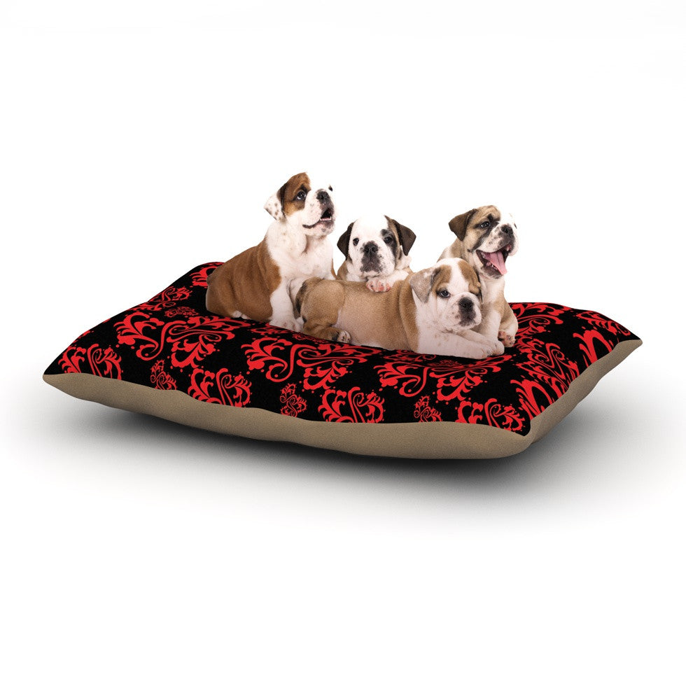 "Mydeas ""Sweetheart Damask Black & Red"" Pattern Dog Bed - KESS InHouse  - 1"