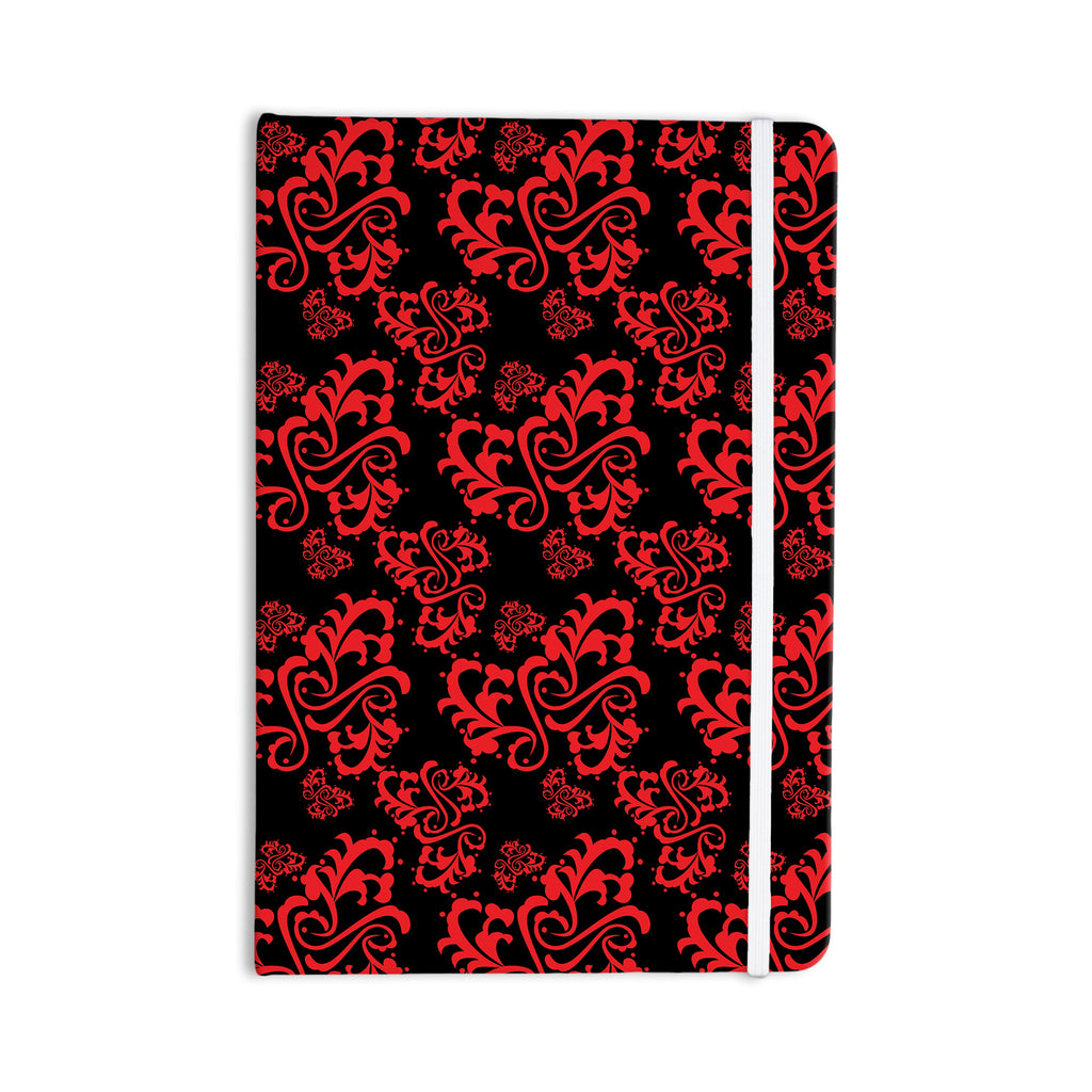 "Mydeas ""Sweetheart Damask Black & Red"" Pattern Everything Notebook - KESS InHouse  - 1"