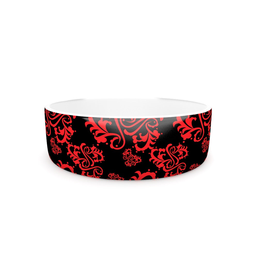 "Mydeas ""Sweetheart Damask Black & Red"" Pattern Pet Bowl - KESS InHouse"