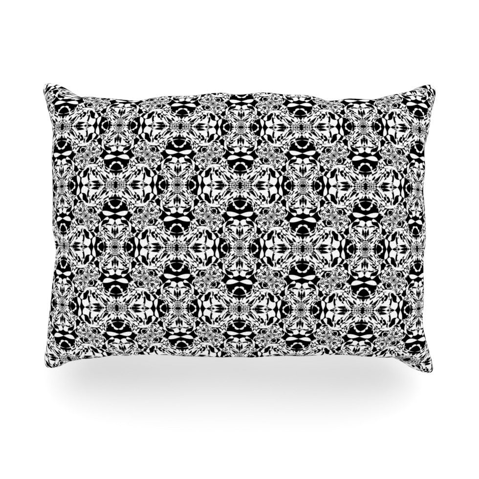 "Mydeas ""Diamond Illusion Damask Black & White"" Pattern Oblong Pillow - KESS InHouse"