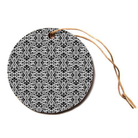 "Mydeas ""Fancy Damask Black and White"" Pattern Black White Circle Holiday Ornament"