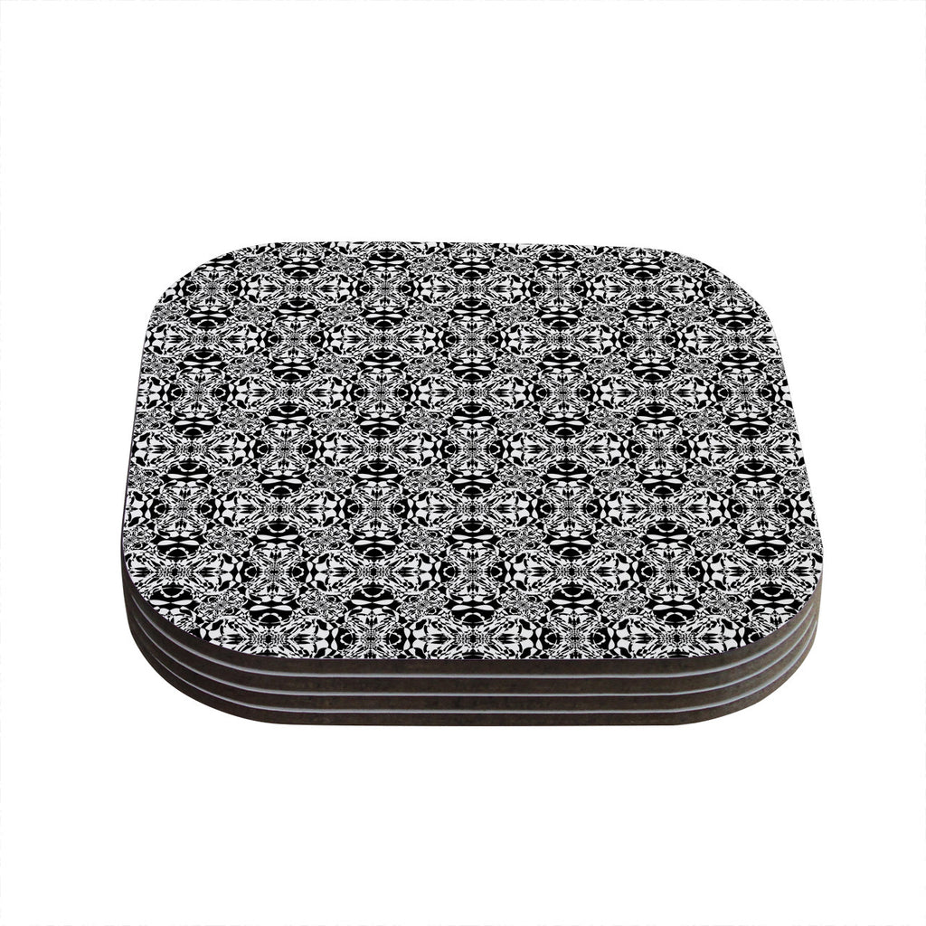 "Mydeas ""Diamond Illusion Damask Black & White"" Pattern Coasters (Set of 4)"