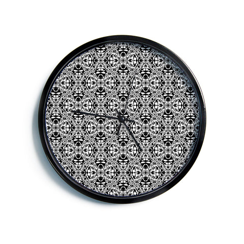 "Mydeas ""Diamond Illusion Damask Black & White"" Pattern Modern Wall Clock"