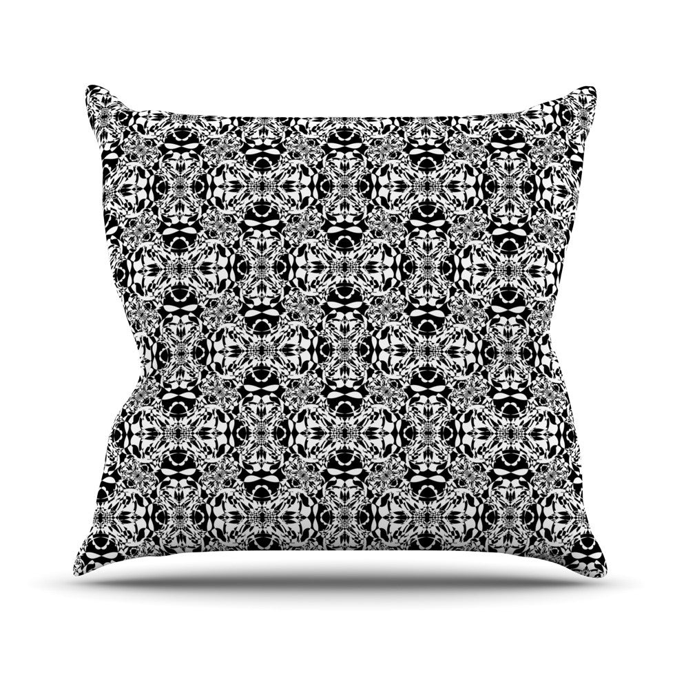 "Mydeas ""Diamond Illusion Damask Black & White"" Pattern Outdoor Throw Pillow - KESS InHouse  - 1"