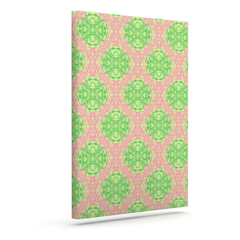 "Mydeas ""Diamond Illusion Damask Watermelon"" Pink Green Canvas Art - KESS InHouse  - 1"