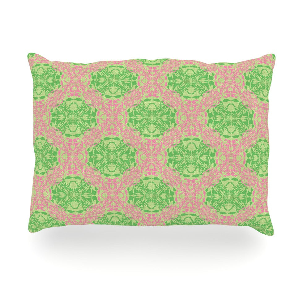 "Mydeas ""Diamond Illusion Damask Watermelon"" Pink Green Oblong Pillow - KESS InHouse"