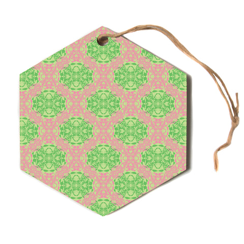 "Mydeas ""Diamond Illusion Damask Watermelon"" Pink Green Hexagon Holiday Ornament"