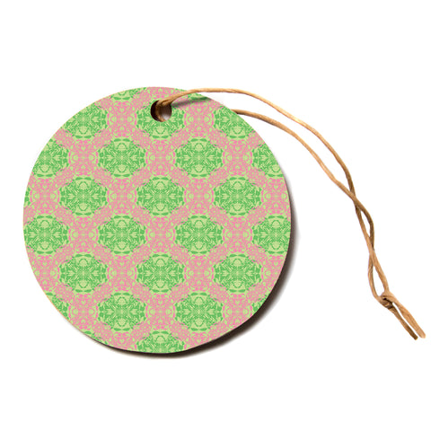 "Mydeas ""Diamond Illusion Damask Watermelon"" Pink Green Circle Holiday Ornament"