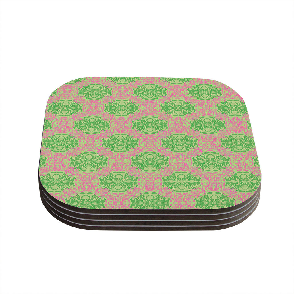 "Mydeas ""Diamond Illusion Damask Watermelon"" Pink Green Coasters (Set of 4)"