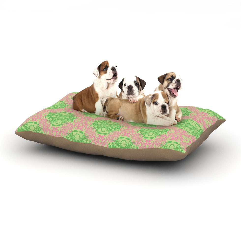 "Mydeas ""Diamond Illusion Damask Watermelon"" Pink Green Dog Bed - KESS InHouse  - 1"
