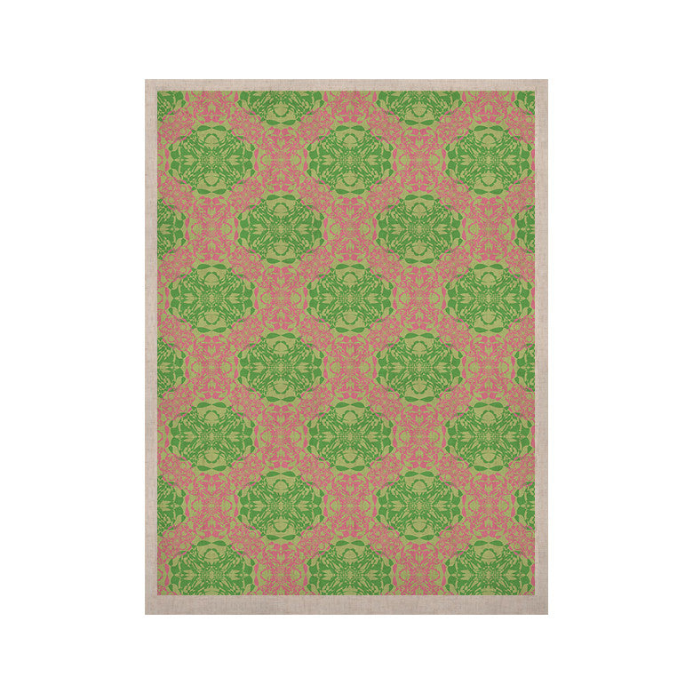 "Mydeas ""Diamond Illusion Damask Watermelon"" Pink Green KESS Naturals Canvas (Frame not Included) - KESS InHouse  - 1"