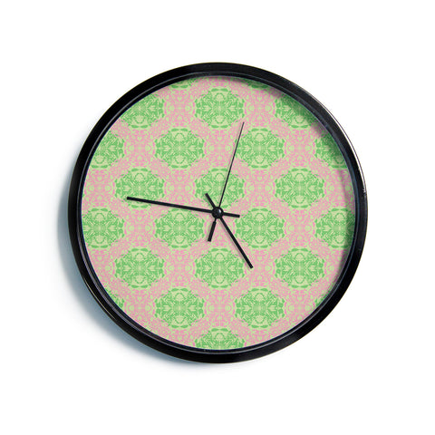 "Mydeas ""Diamond Illusion Damask Watermelon"" Pink Green Modern Wall Clock"