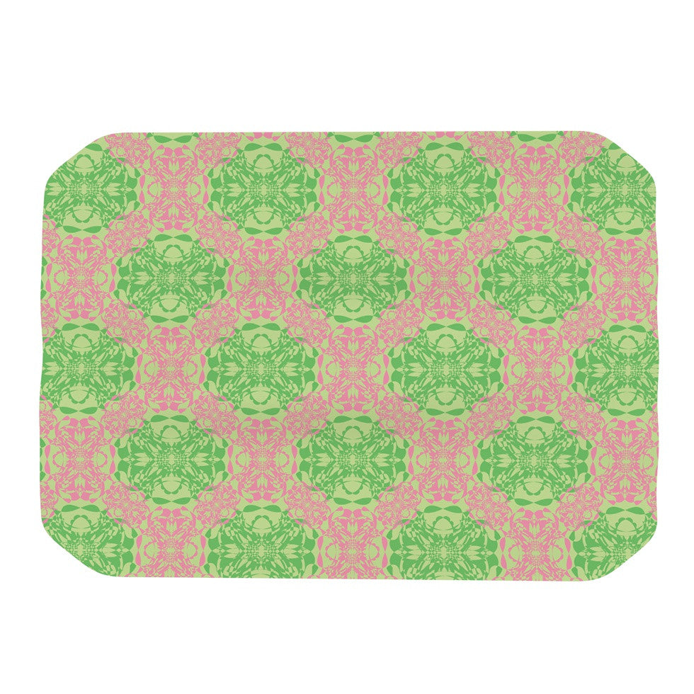 "Mydeas ""Diamond Illusion Damask Watermelon"" Pink Green Place Mat - KESS InHouse"
