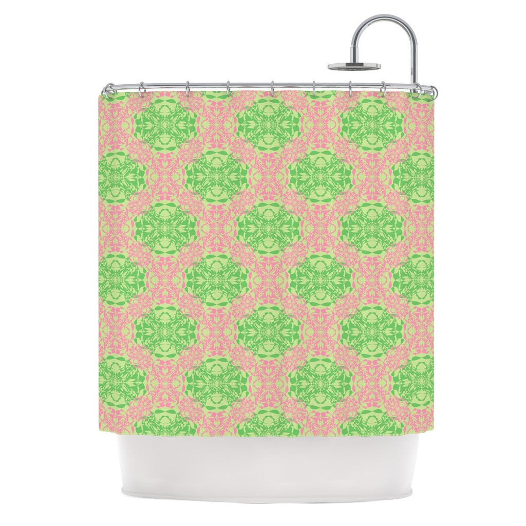 "Mydeas ""Diamond Illusion Damask Watermelon"" Pink Green Shower Curtain - KESS InHouse"