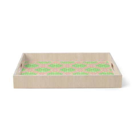 "Mydeas ""Diamond Illusion Damask Watermelon"" Pink Green Birchwood Tray"