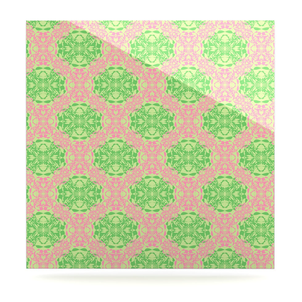 "Mydeas ""Diamond Illusion Damask Watermelon"" Pink Green Luxe Square Panel - KESS InHouse  - 1"