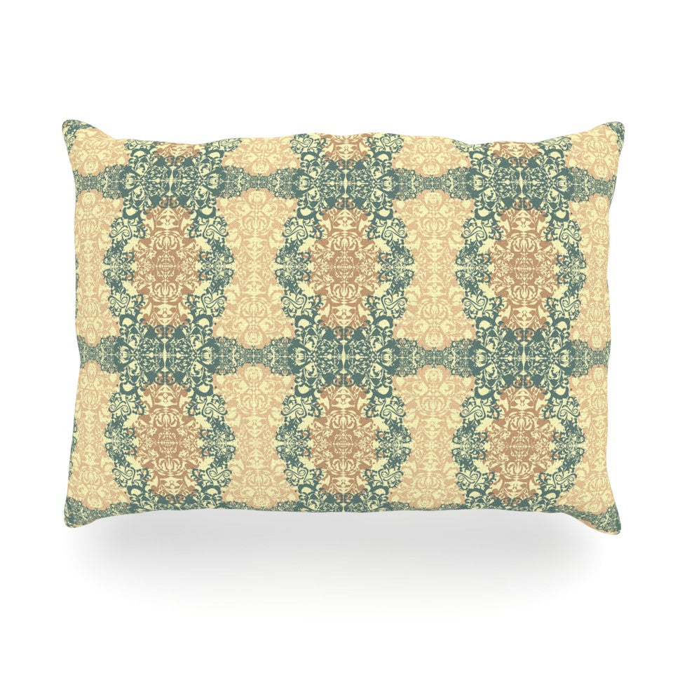 "Mydeas ""Fancy Damask Antique"" Brown Teal Oblong Pillow - KESS InHouse"