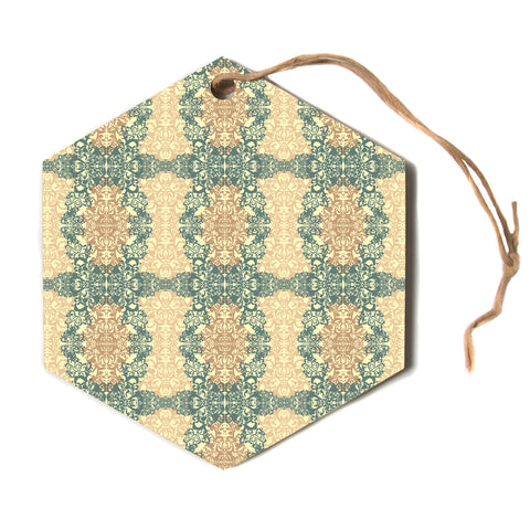 "Mydeas ""Fancy Damask Antique"" Brown Teal Hexagon Holiday Ornament"