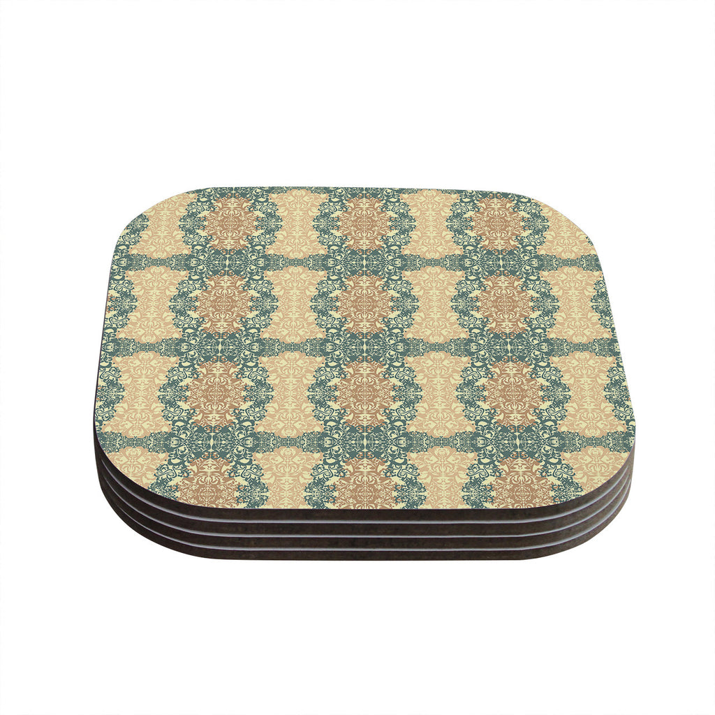 "Mydeas ""Fancy Damask Antique"" Brown Teal Coasters (Set of 4)"