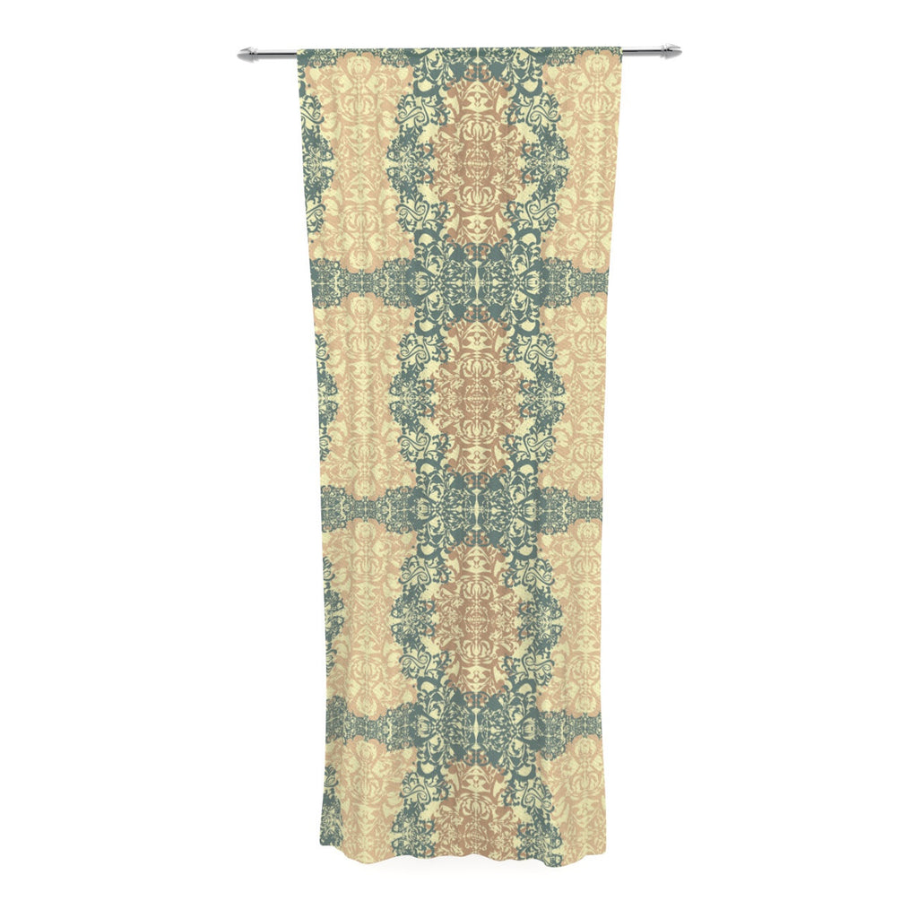 "Mydeas ""Fancy Damask Antique"" Brown Teal Decorative Sheer Curtain - KESS InHouse  - 1"