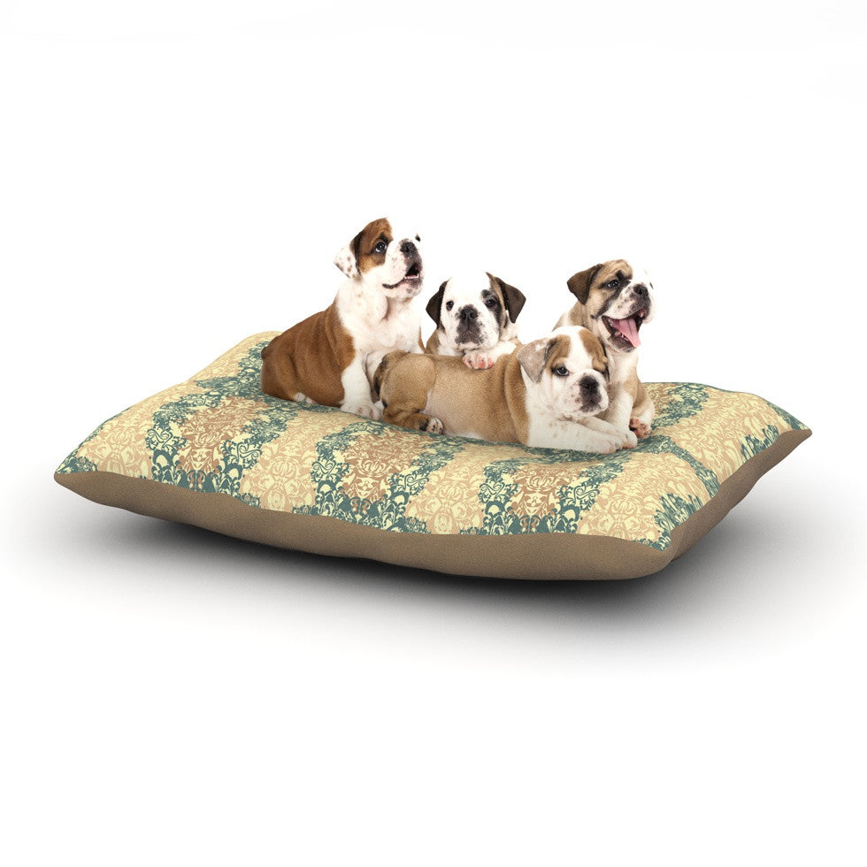 "Mydeas ""Fancy Damask Antique"" Brown Teal Dog Bed - KESS InHouse  - 1"