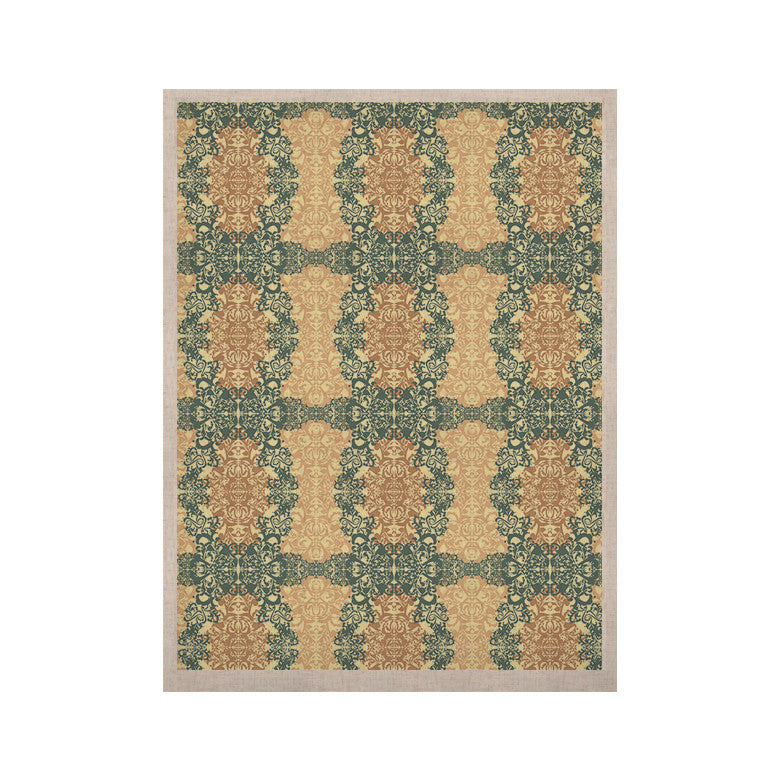 "Mydeas ""Fancy Damask Antique"" Brown Teal KESS Naturals Canvas (Frame not Included) - KESS InHouse  - 1"