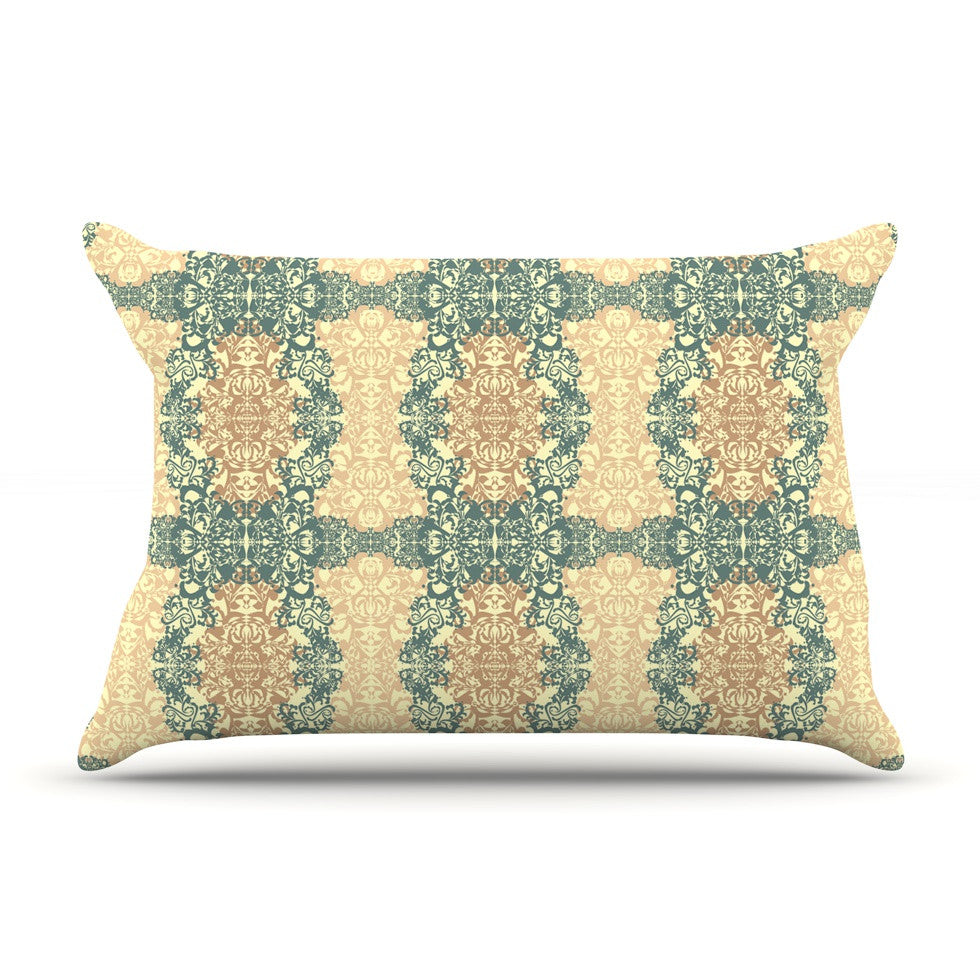"Mydeas ""Fancy Damask Antique"" Brown Teal Pillow Sham - KESS InHouse"