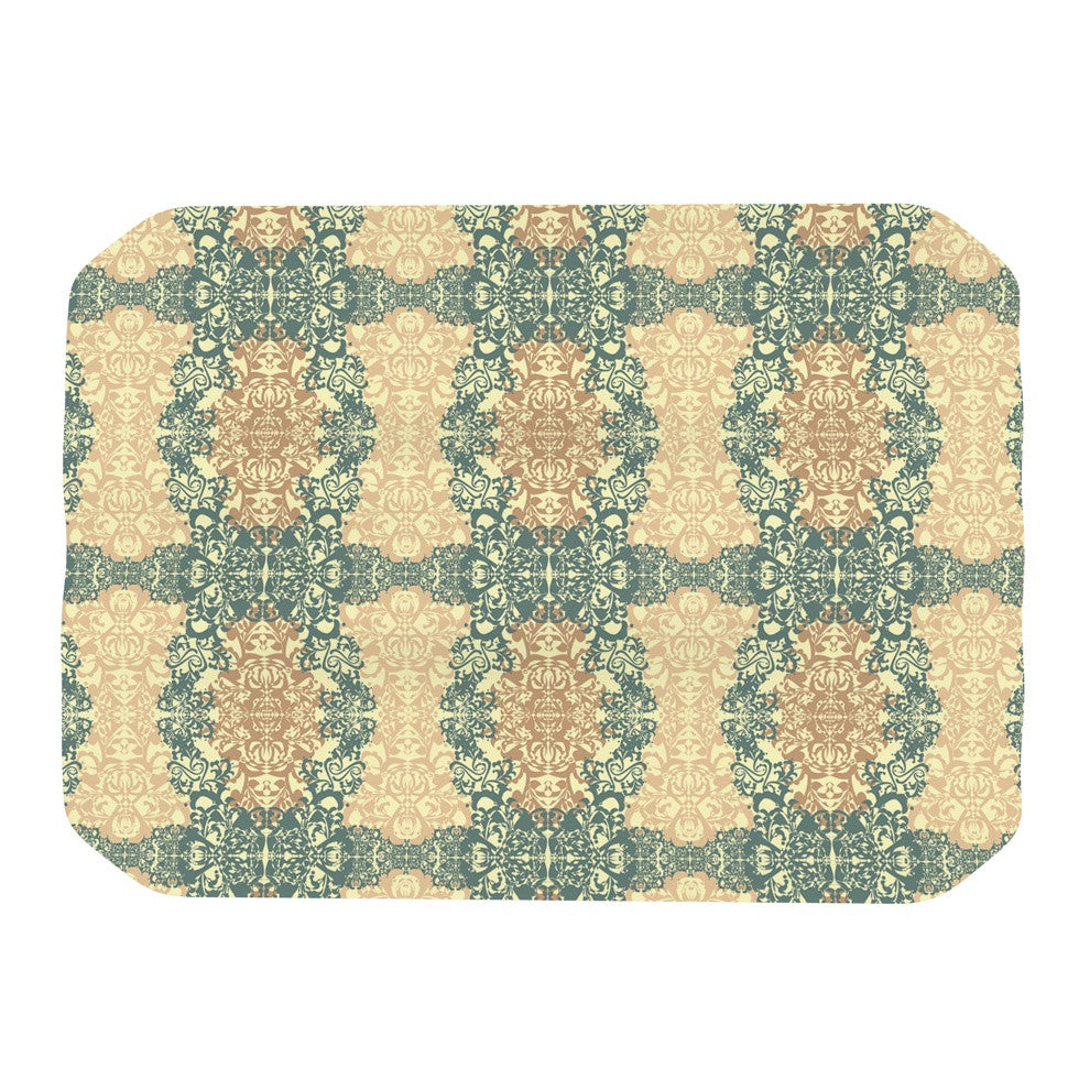 "Mydeas ""Fancy Damask Antique"" Brown Teal Place Mat - KESS InHouse"