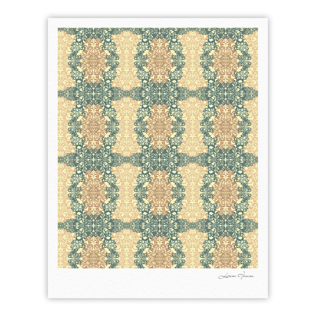 "Mydeas ""Fancy Damask Antique"" Brown Teal Fine Art Gallery Print - KESS InHouse"