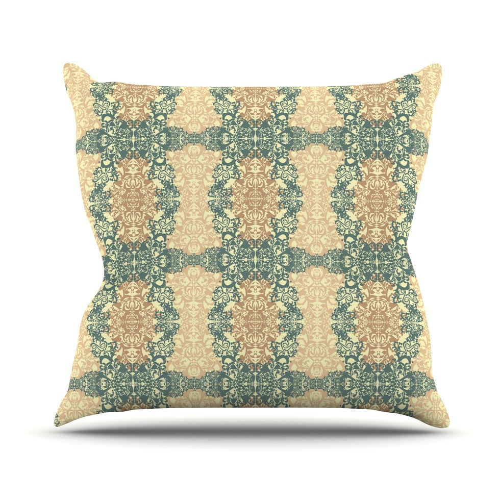 "Mydeas ""Fancy Damask Antique"" Brown Teal Throw Pillow - KESS InHouse  - 1"