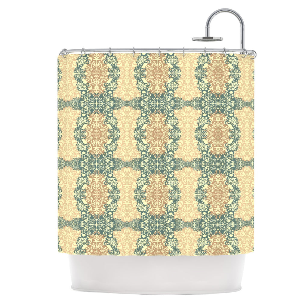 "Mydeas ""Fancy Damask Antique"" Brown Teal Shower Curtain - KESS InHouse"