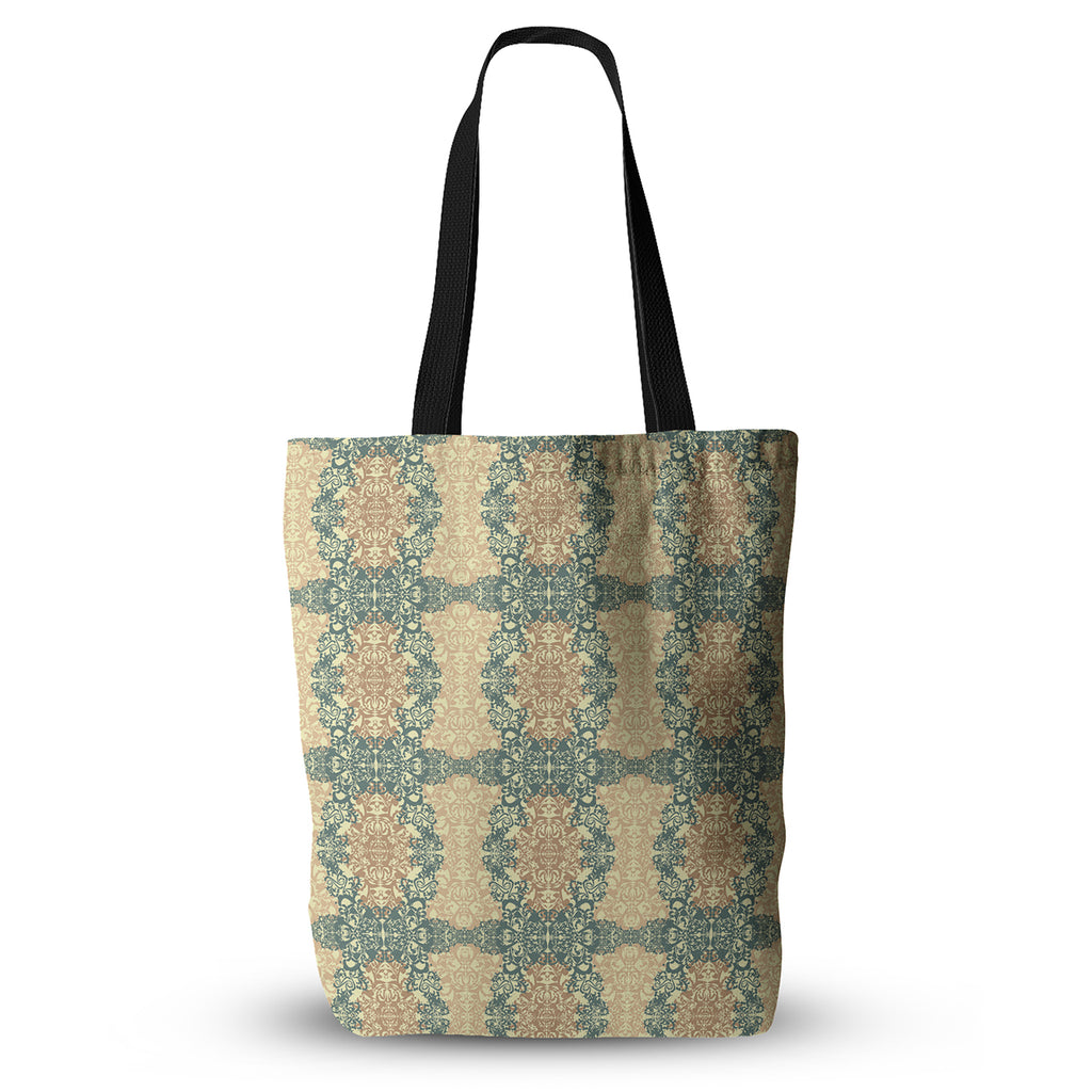 "Mydeas ""Fancy Damask Antique"" Brown Teal Everything Tote Bag - KESS InHouse  - 1"