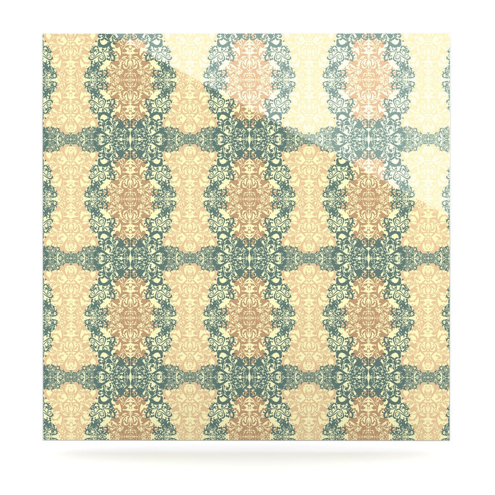 "Mydeas ""Fancy Damask Antique"" Brown Teal Luxe Square Panel - KESS InHouse  - 1"