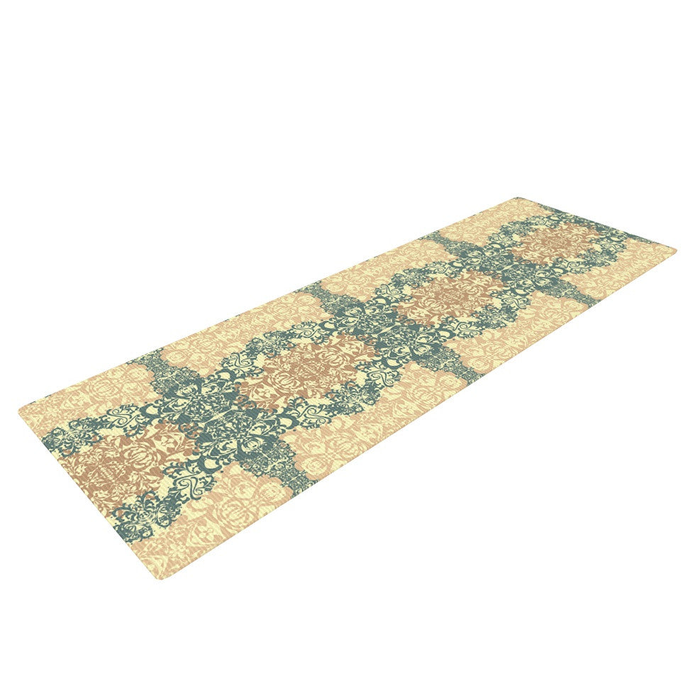 "Mydeas ""Fancy Damask Antique"" Brown Teal Yoga Mat - KESS InHouse  - 1"
