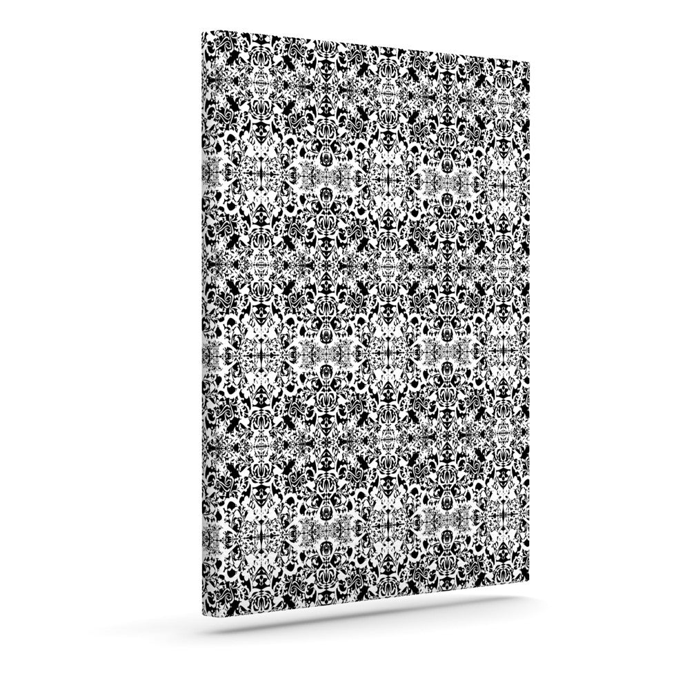 "Mydeas ""Fancy Damask Black & White"" Gray Canvas Art - KESS InHouse  - 1"