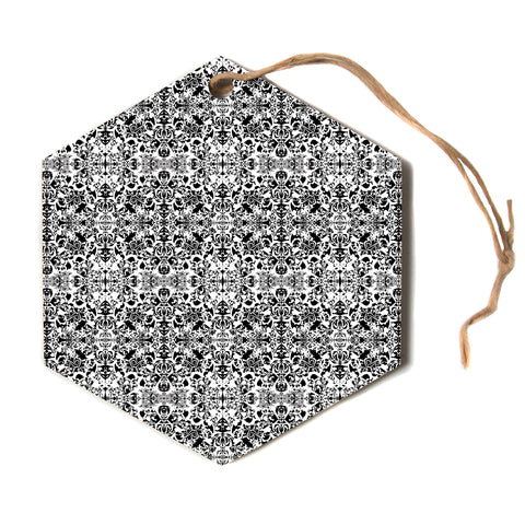"Mydeas ""Diamond Illusion Black and White"" Gray Hexagon Holiday Ornament"