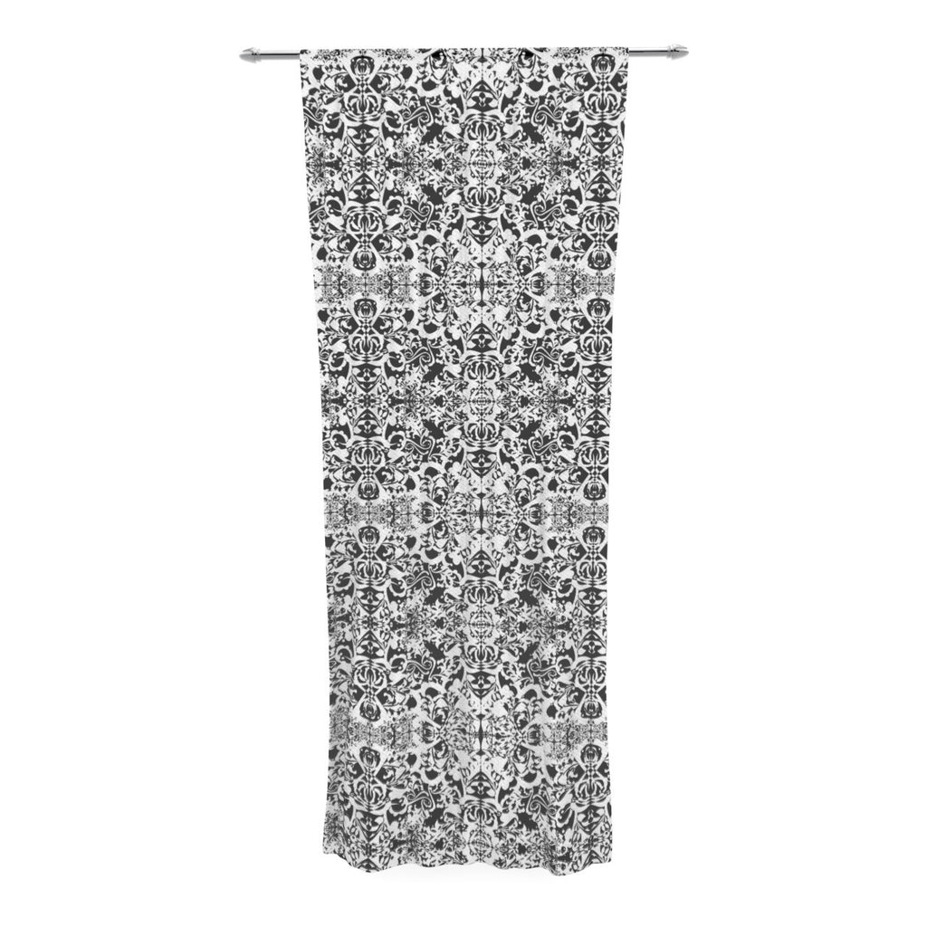 "Mydeas ""Fancy Damask Black & White"" Gray Decorative Sheer Curtain - KESS InHouse  - 1"