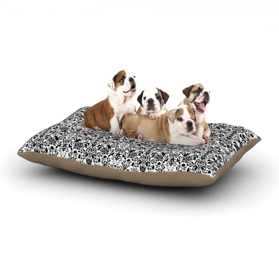 "Mydeas ""Fancy Damask Black & White"" Gray Dog Bed - KESS InHouse  - 1"