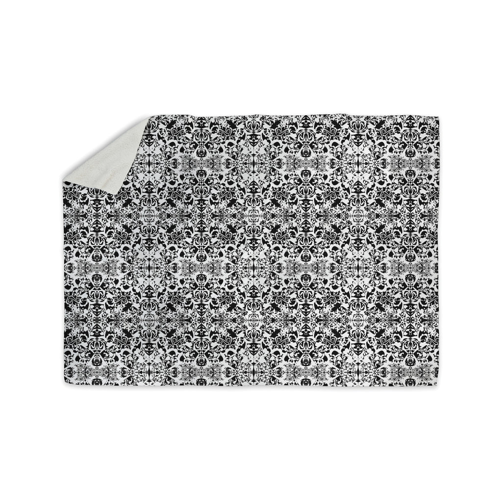 "Mydeas ""Fancy Damask Black & White"" Gray Sherpa Blanket - KESS InHouse  - 1"