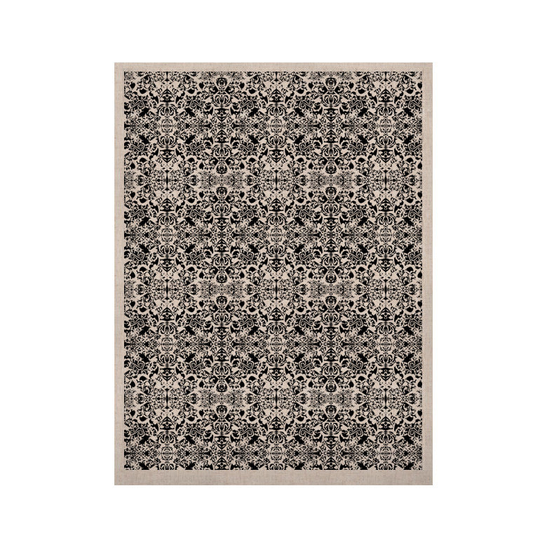 "Mydeas ""Fancy Damask Black & White"" Gray KESS Naturals Canvas (Frame not Included) - KESS InHouse  - 1"