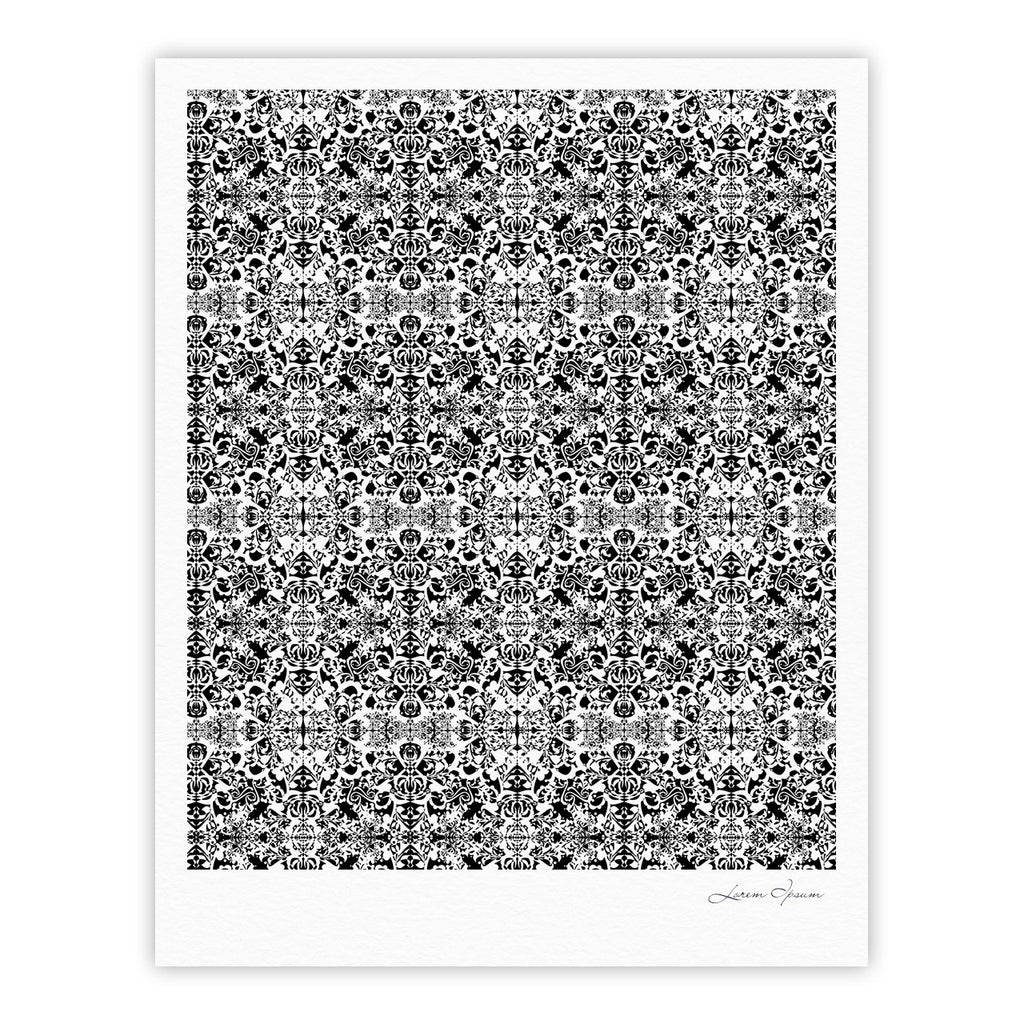 "Mydeas ""Fancy Damask Black & White"" Gray Fine Art Gallery Print - KESS InHouse"