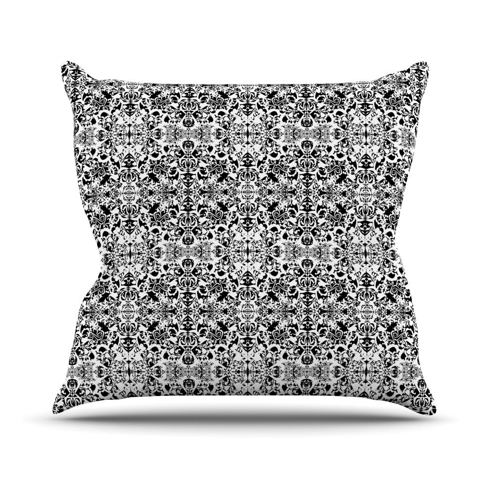 "Mydeas ""Fancy Damask Black & White"" Gray Throw Pillow - KESS InHouse  - 1"