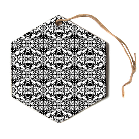 "Mydeas ""Illusion Damask Black and White"" Monochrome Hexagon Holiday Ornament"