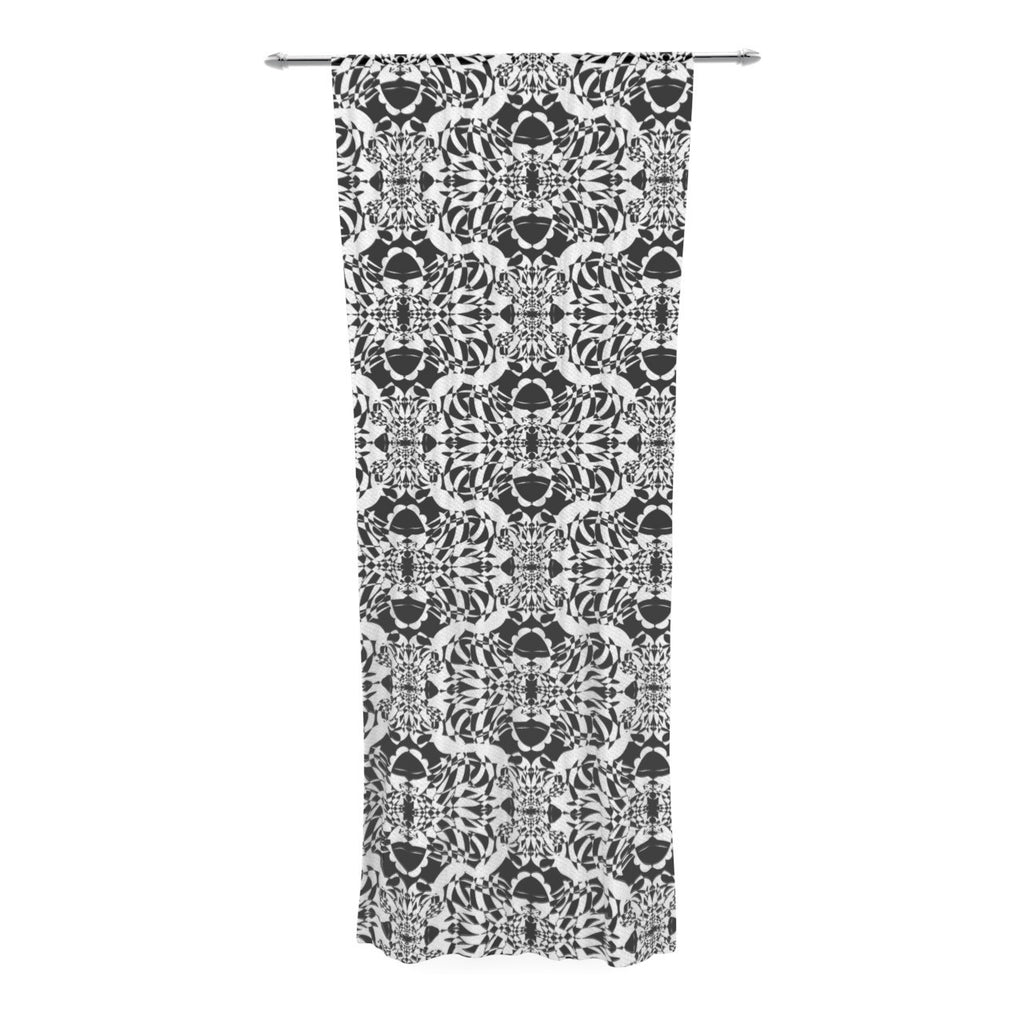 "Mydeas ""Illusion Damask Black & White"" Monochrome Decorative Sheer Curtain - KESS InHouse  - 1"